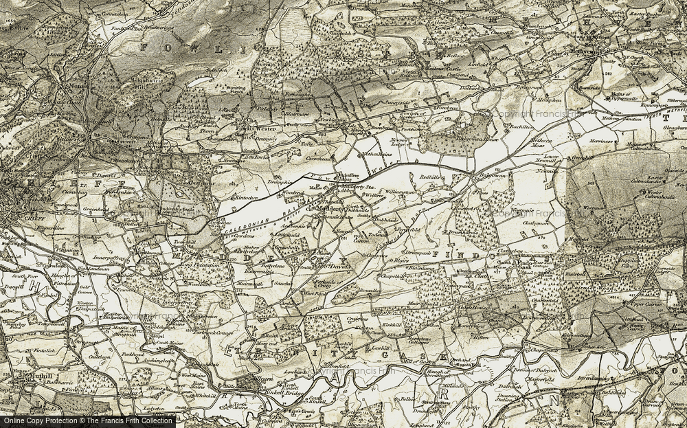 Old Map of Historic Map covering Abbey in 1906-1908