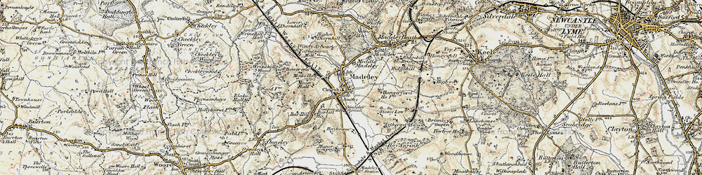 Old map of Madeley in 1902