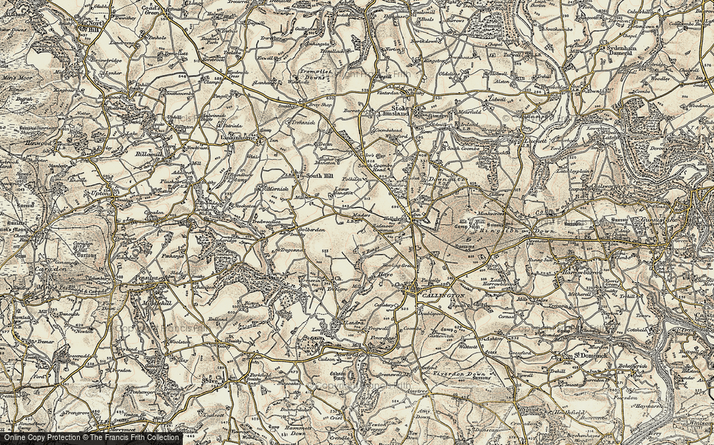 Old Map of Historic Map covering Woodland in 1899-1900