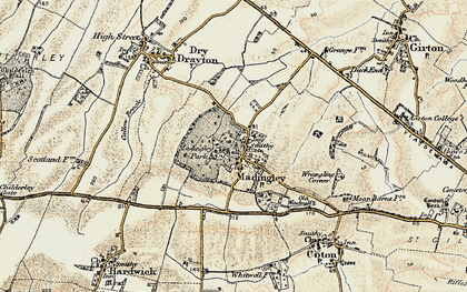 Old map of Madingley in 1899-1901