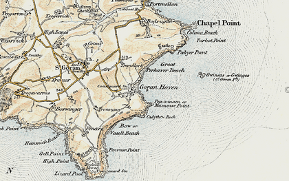 Old map of Maenease Point in 1900