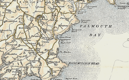 Old map of Maenporth in 1900