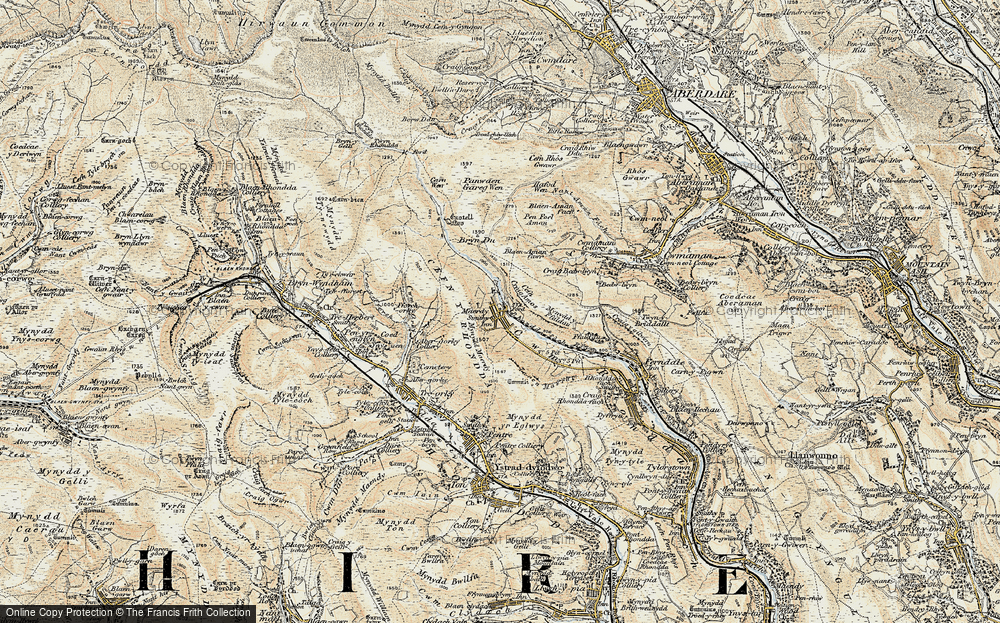 Old Map of Historic Map covering Afon Rhondda Fach in 1899-1900