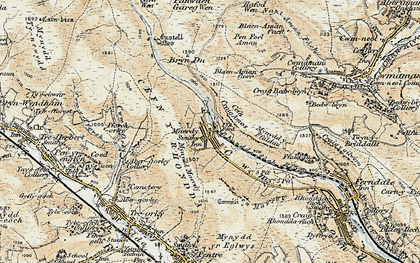 Old map of Afon Rhondda Fach in 1899-1900