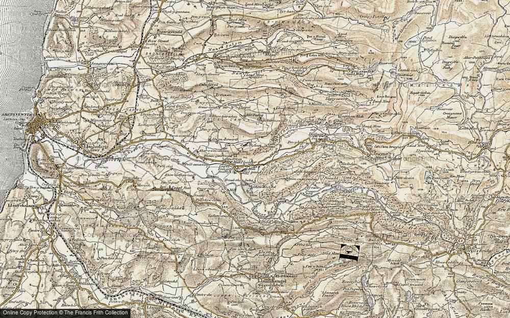 Old Map of Historic Map covering Allt y Gwreiddyn in 1901-1903