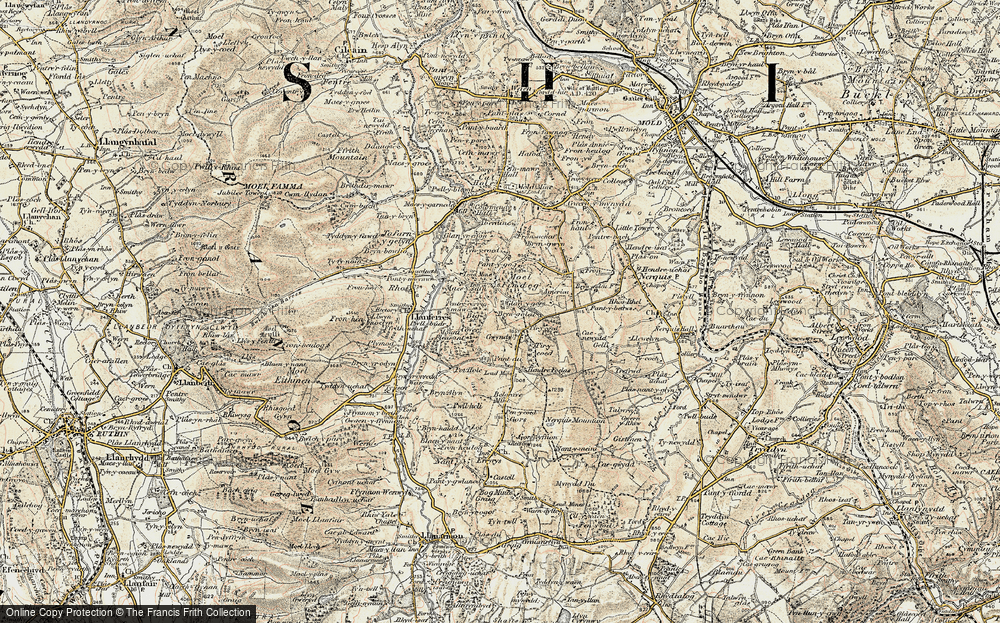 Old Map of Historic Map covering Tir-y-coed in 1902-1903