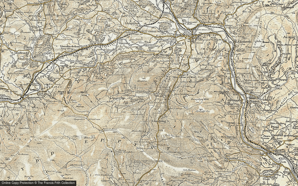 Old Map of Historic Map covering Allt Cynhelyg in 1900-1902