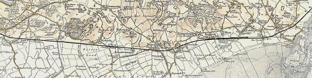 Old map of Magor in 1899-1900