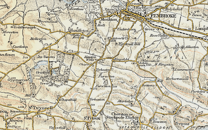 Old map of Yerbeston in 1901-1912
