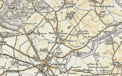 Old map of Maids' Moreton in 1898-1901