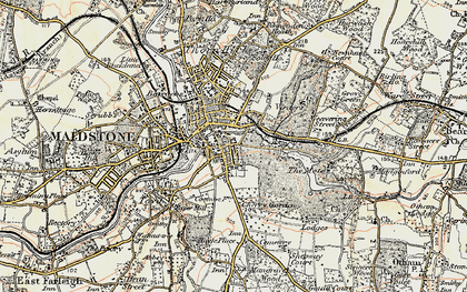Old map of Maidstone in 1897-1898