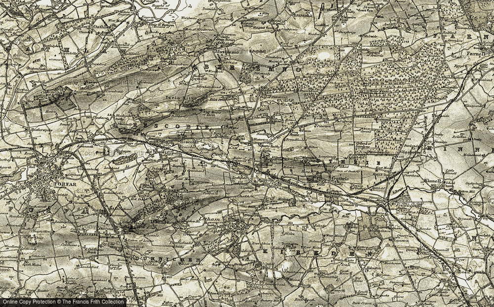 Old Map of Historic Map covering Westerton in 1907-1908