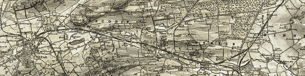 Old map of Westerton in 1907-1908