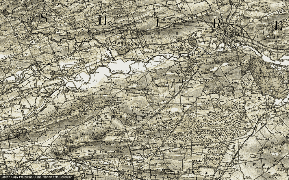Old Map of Historic Map covering Wood of Aldbar in 1907-1908