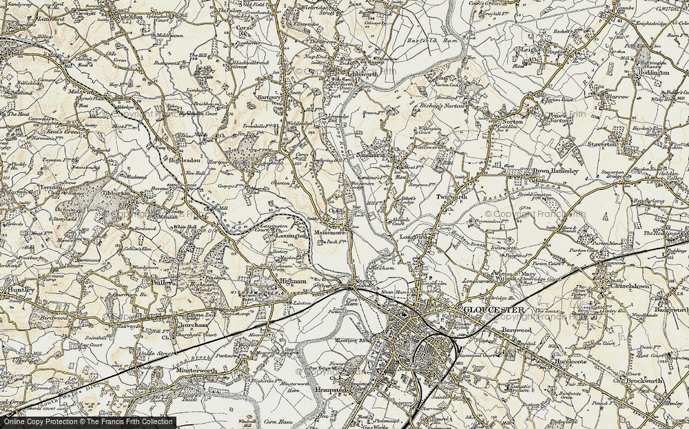 Old Map of Historic Map covering Abloads Court in 1898-1900