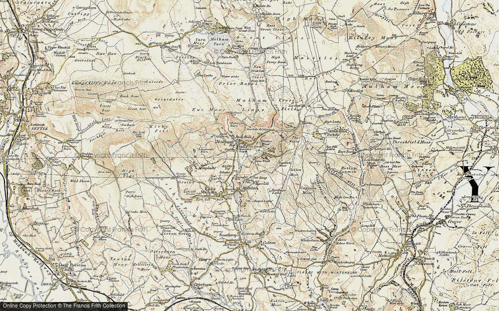 Old Map of Historic Map covering Aire Head in 1903-1904