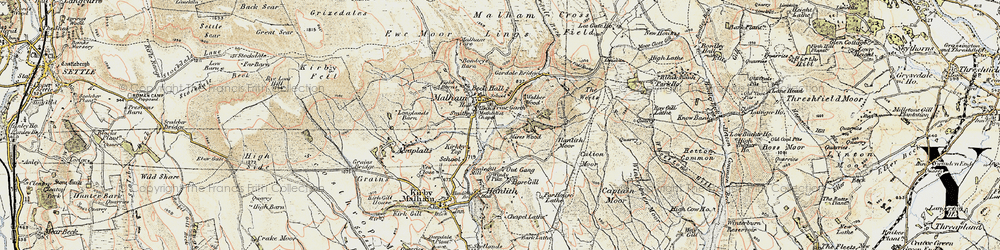 Old map of Malham in 1903-1904
