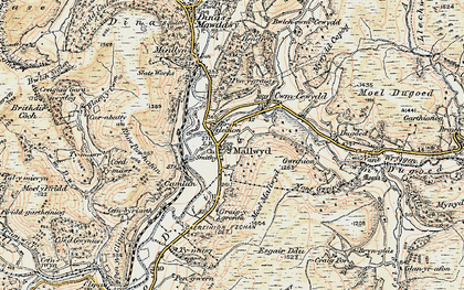 Old map of Mallwyd in 1902-1903