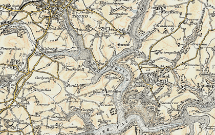 Old map of Malpas in 1900