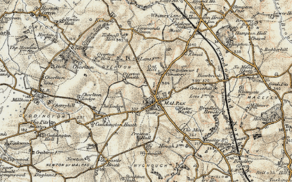 Old map of Malpas in 1902