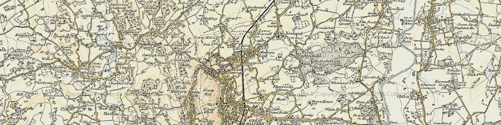Old map of Malvern Link in 1899-1901