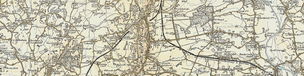Old map of Malvern Wells in 1899-1901
