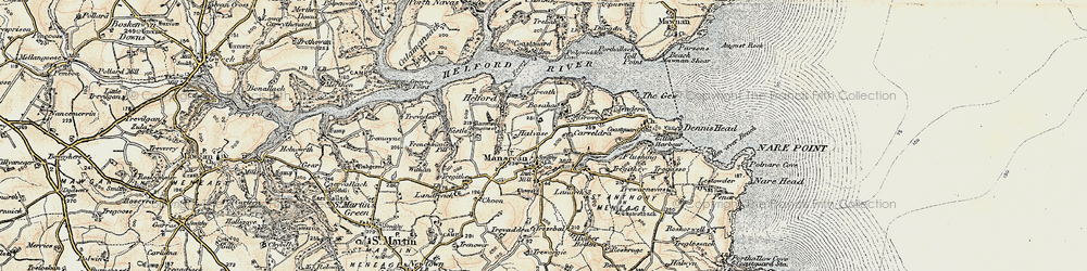 Old map of Manaccan in 1900