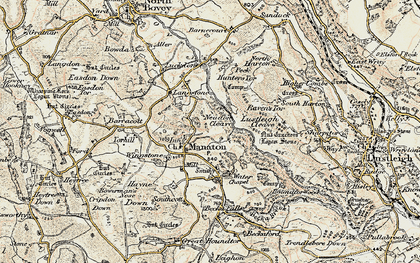 Old map of Manaton in 1899-1900