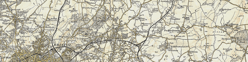 Old map of Mangotsfield in 1899
