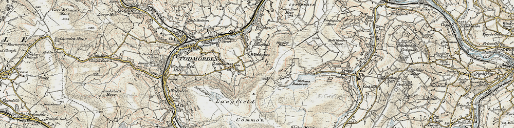 Old map of Withins Clough Reservoir in 1903