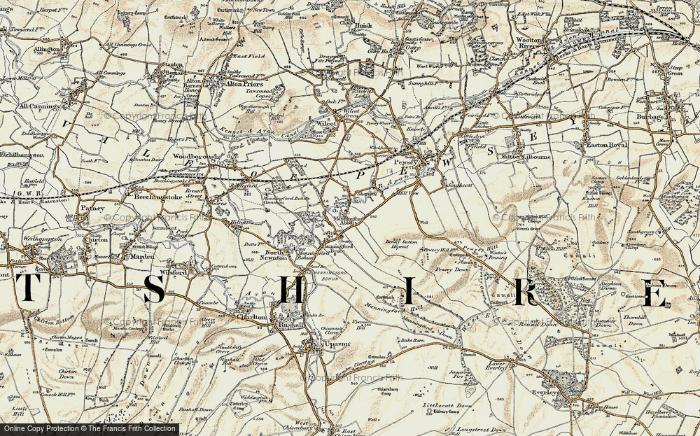 Old Map of Historic Map covering Abbots Down in 1897-1899