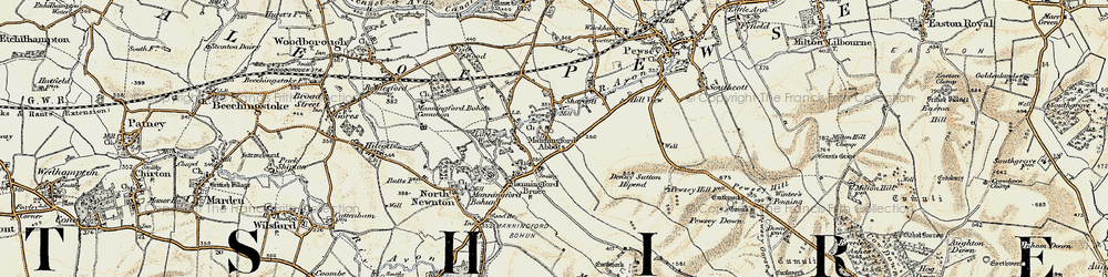 Old map of Abbots Down in 1897-1899