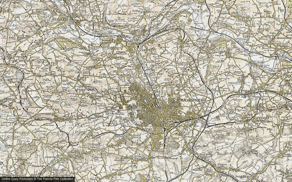 Old Map of Historic Map covering West Riding of Yorkshire in 1903-1904