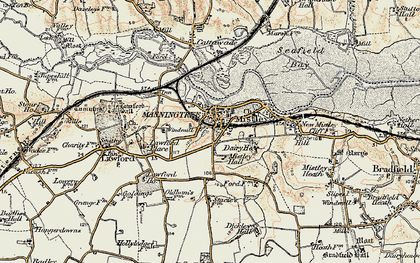 Old map of Manningtree in 1898-1899
