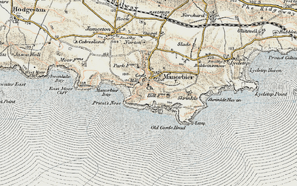 Old map of Manorbier in 1901-1912