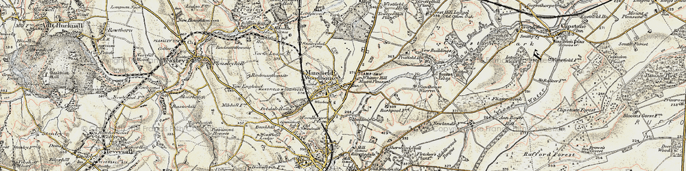 Old map of Whinney Hill in 1902-1903