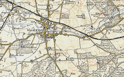 Old map of Worksop College in 1902-1903