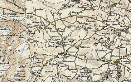 Old map of Altarnun in 1900