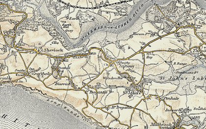 Old map of Antony in 1899-1900