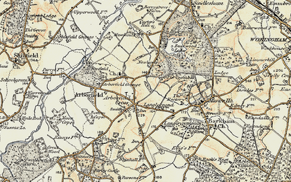Old map of Arborfield Cross in 1897-1909