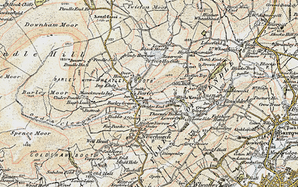 Old map of Barley in 1903-1904