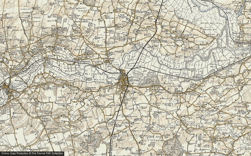 Old Map of Map of Beccles