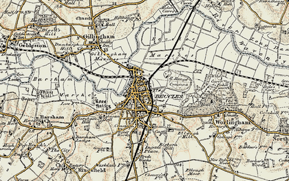 Old map of Beccles in 1901-1902