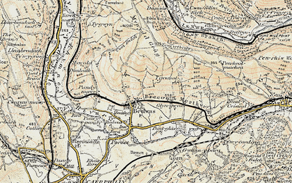 Old map of Bedwas in 1899-1900