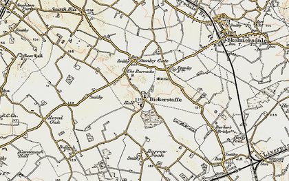Old map of Bickerstaffe in 1902-1903