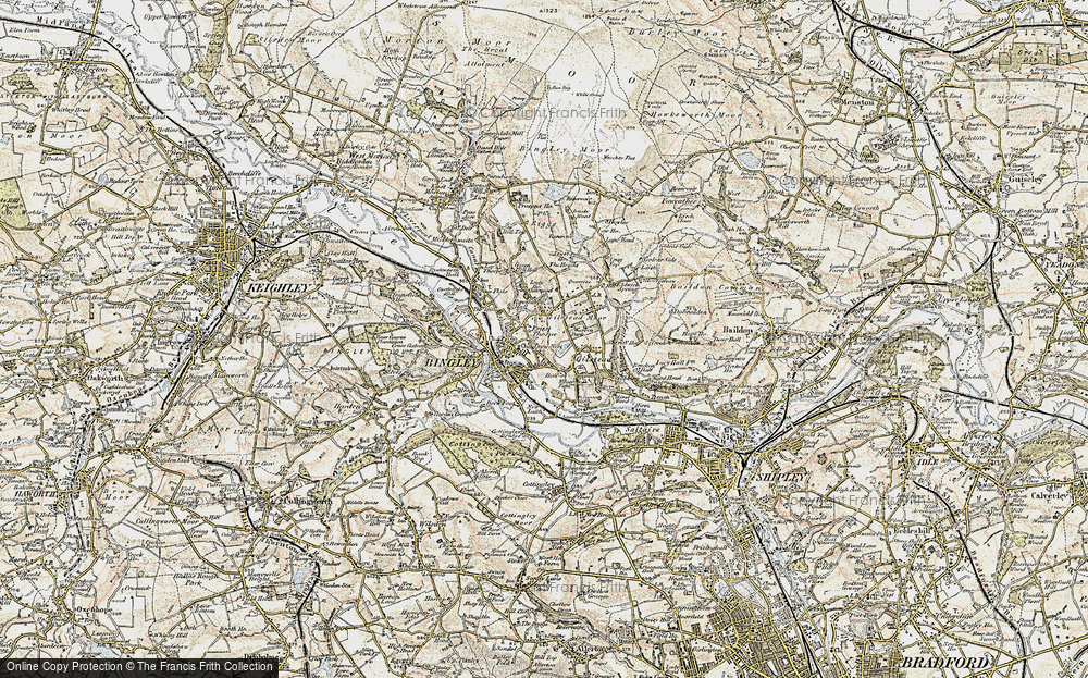 Old Map of Map of Bingley