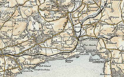 Old map of Biscovey in 1900