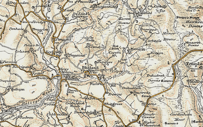 Old map of Blisland in 1900