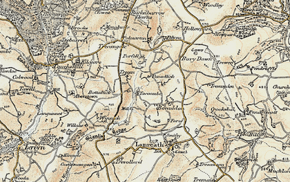 Old map of Bocaddon in 1900