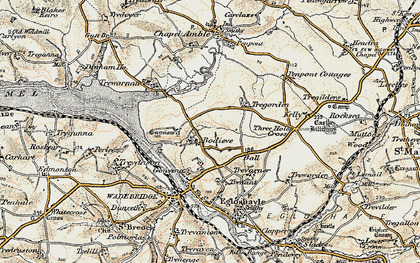 Old map of Bodieve in 1900